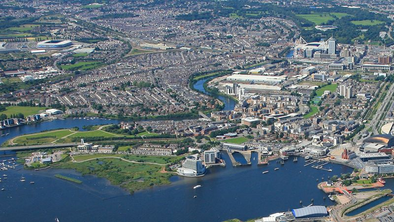 Aerial photo of Cardiff Bay