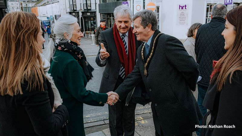 Lady Dunraven is introduced to the Mayor by Julian Golunski of Cooke & Arkwright in Bridgend