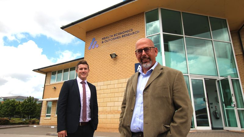 Rhys Price of Cooke & Arkwright and Phil McEwan of HEOR outside their new office building